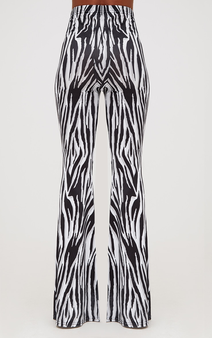 White Zebra Slinky Flared Trousers 4