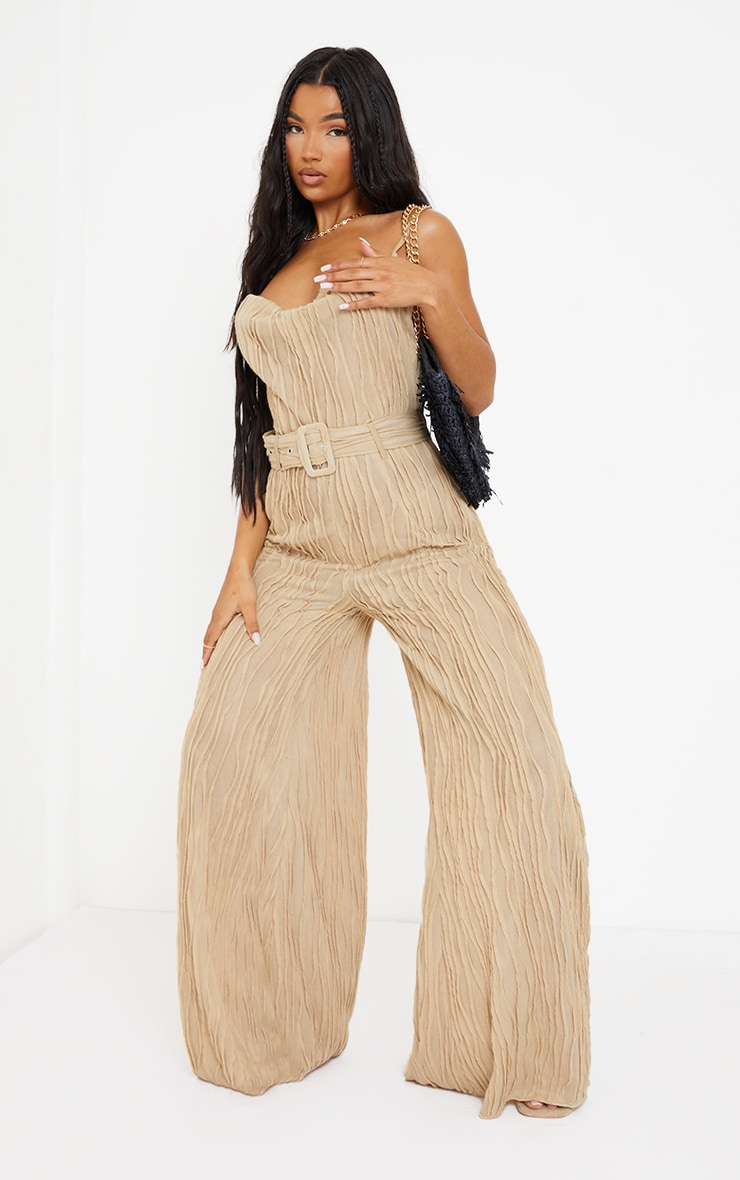 Stone Sheer Textured Cowl Neck Belted Wide Leg Jumpsuit 1