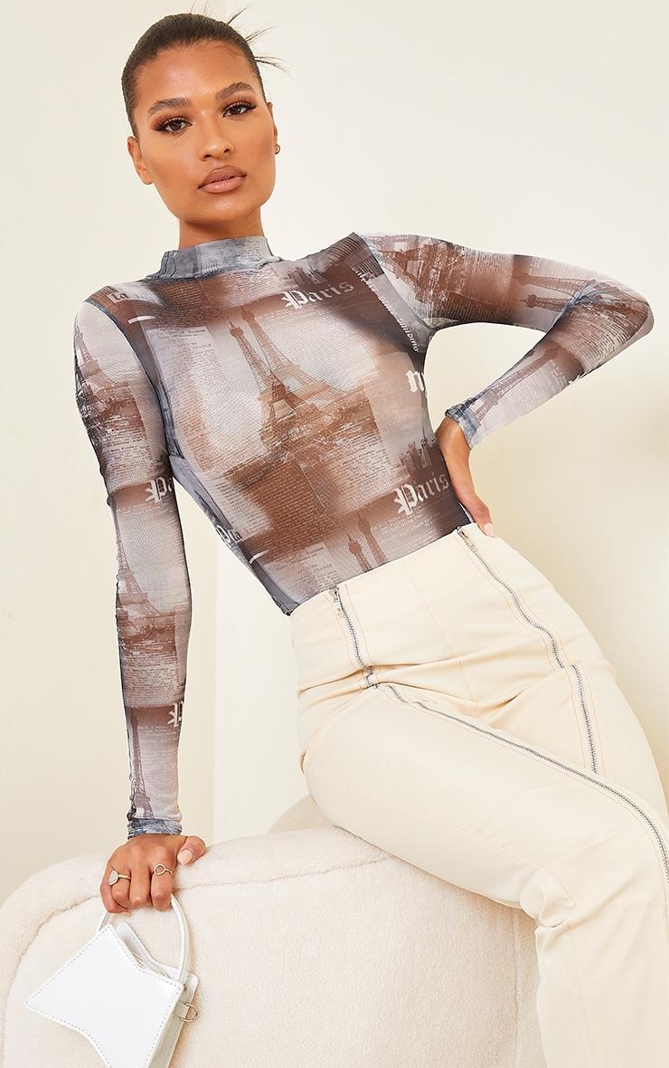 Black NYC Print Mesh High Neck Bodysuit 1