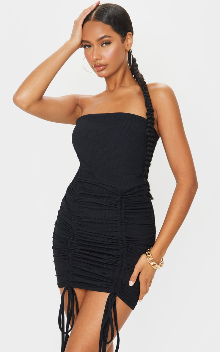 Black Ribbed Ruched Cut Out Bardot Bodycon Dress 1