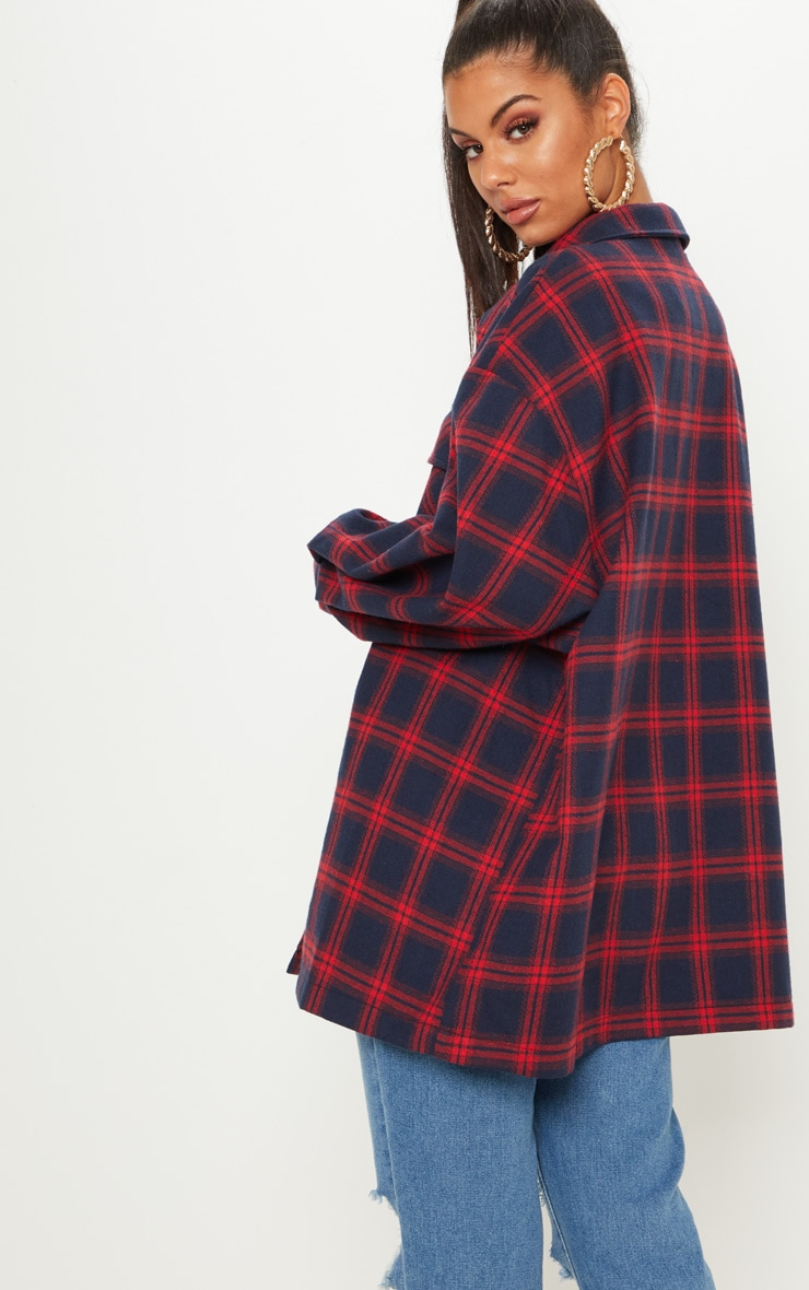 Navy Oversized Checked Jacket  2