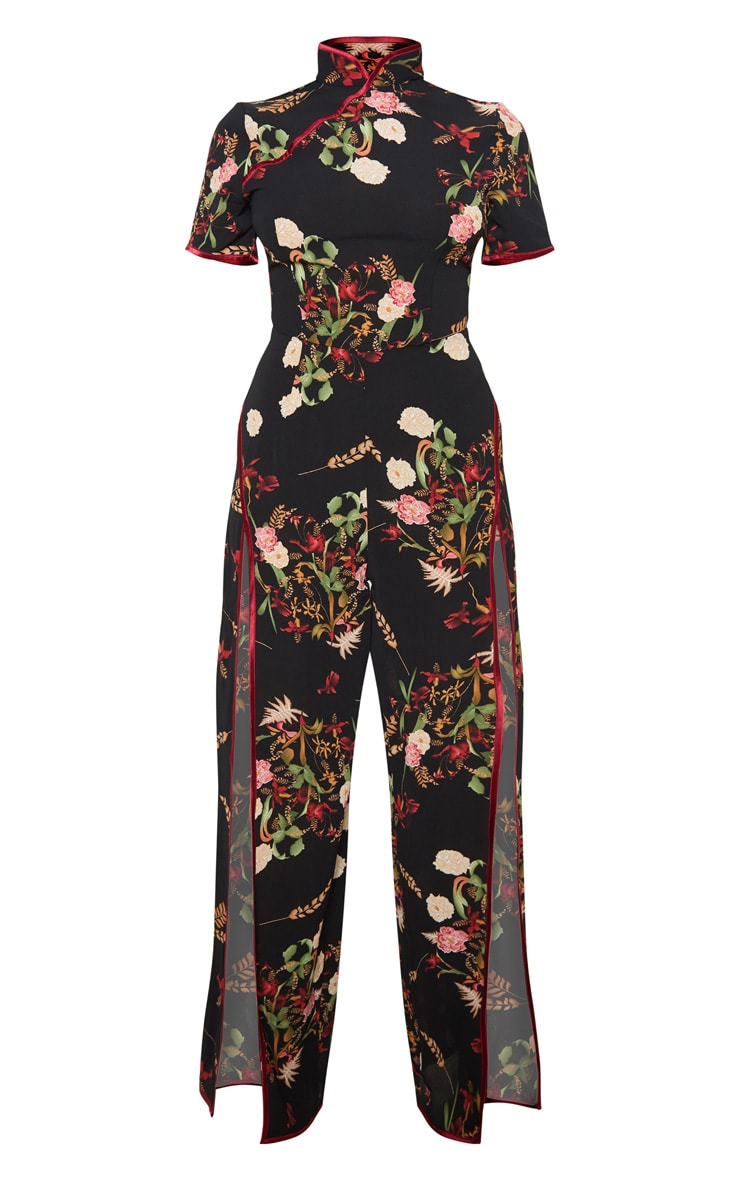 Petite Black Thigh Split Oriental Jumpsuit 3