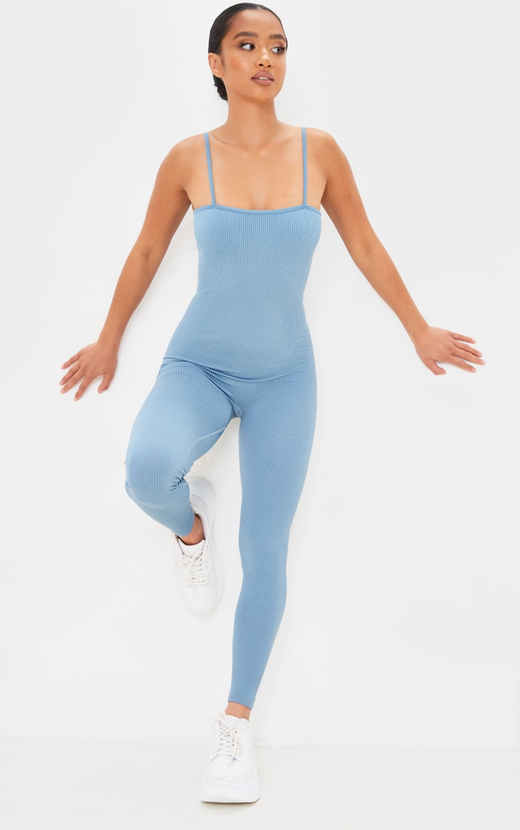 Petite Blue Strappy Structured Contour Ribbed Jumpsuit 3