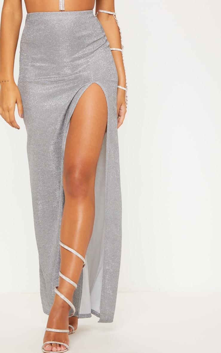 Silver Glitter Side Split Maxi Skirt 3