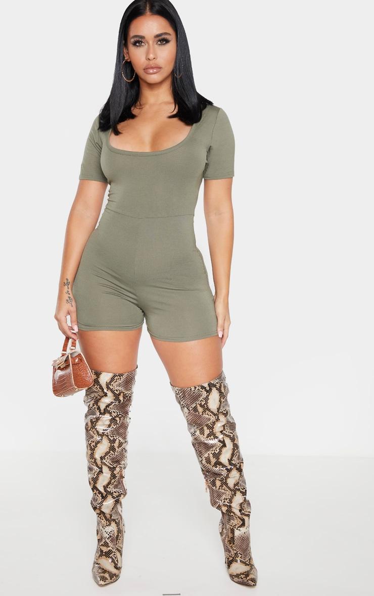 Shape Khaki Short Sleeve Unitard 3
