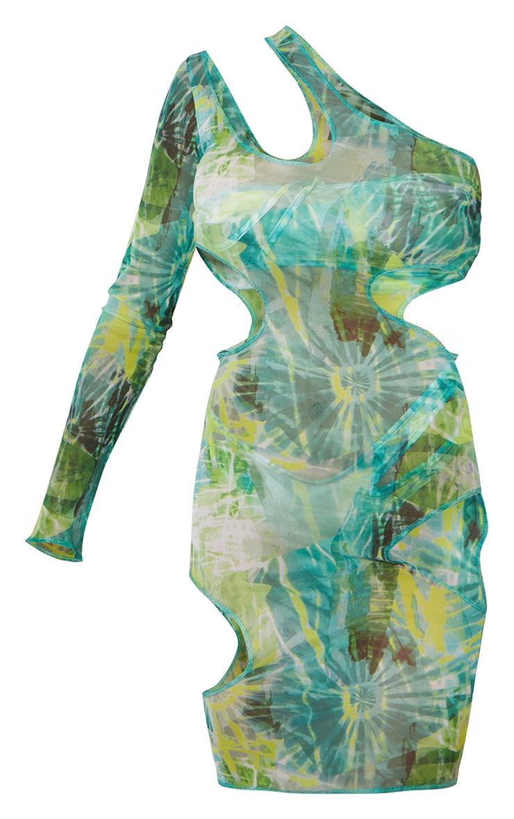 Green Cut Out One Shoulder Midi Dress 5