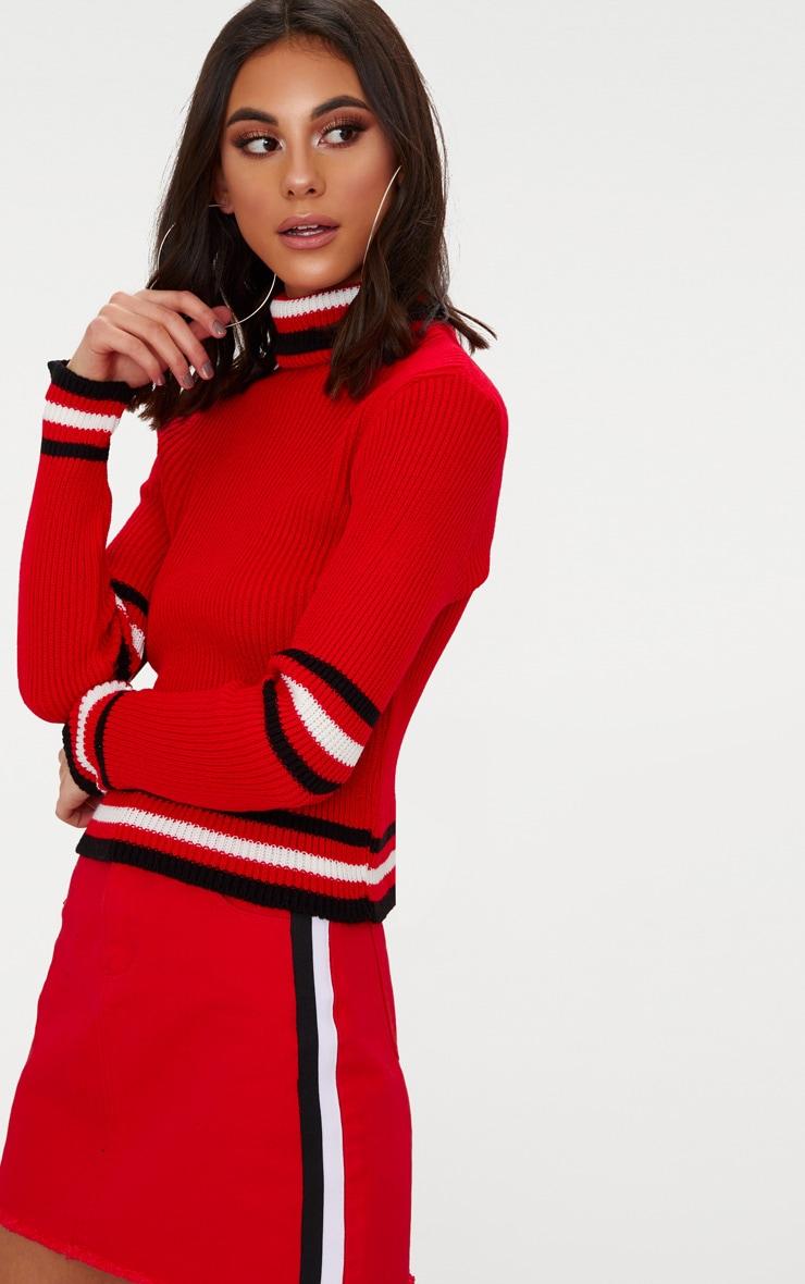 Red Sports Stripe Roll Neck Jumper 1