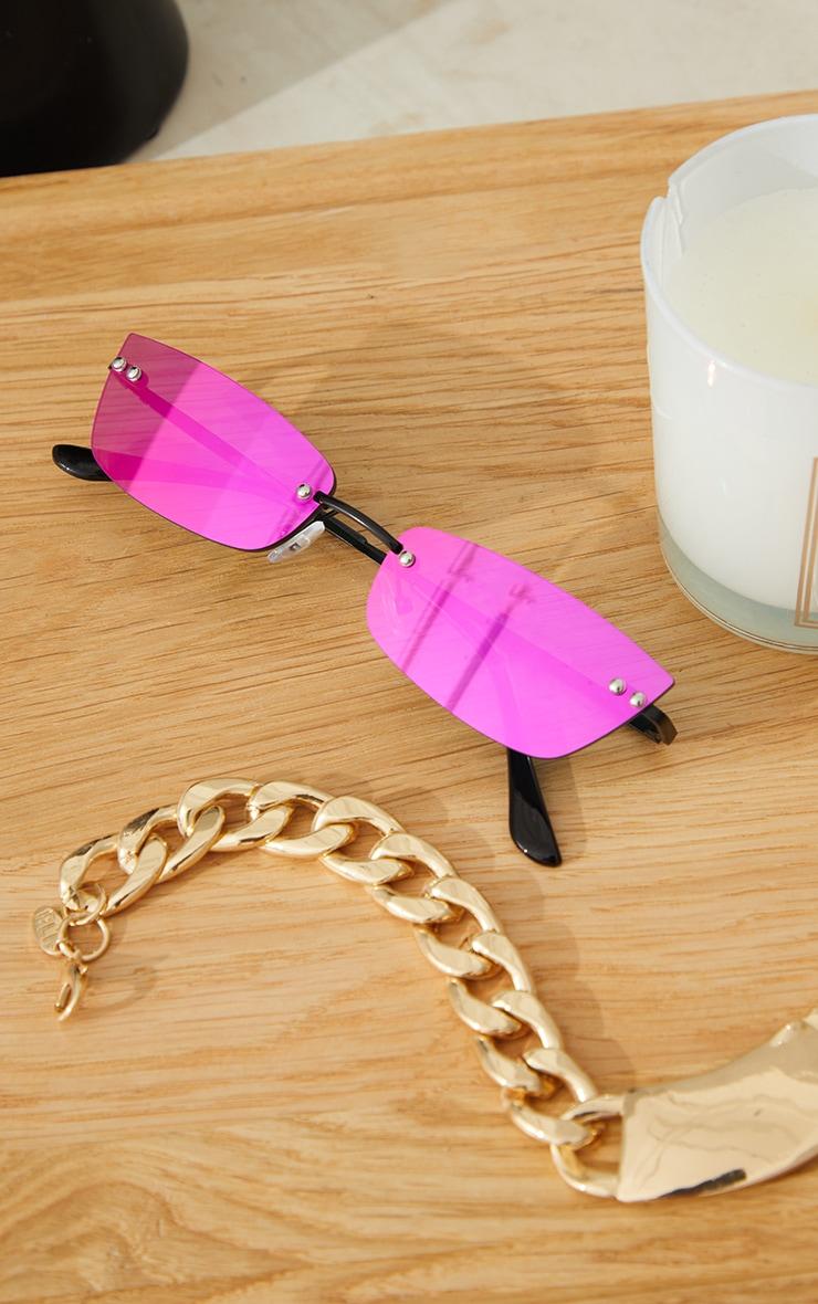 Pink Lens Revo Effect Small Square Rimless Sunglasses 3