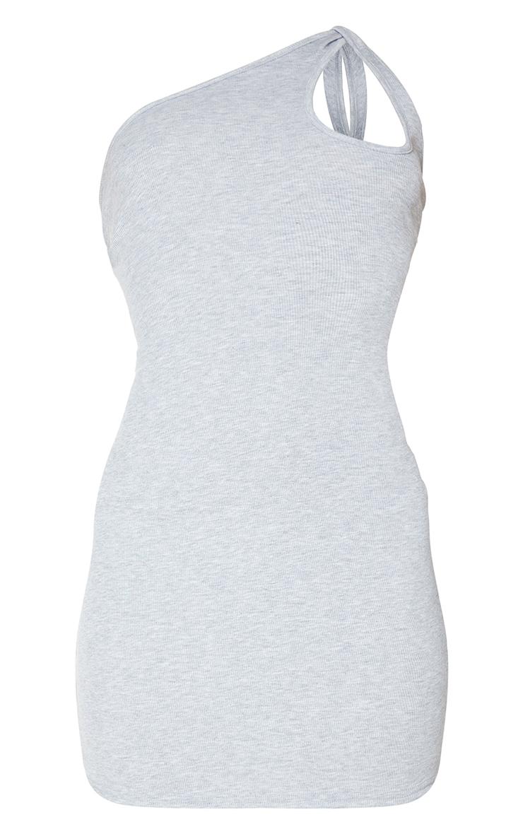 Grey Rib Knot Detail One Shoulder Bodycon Dress 5