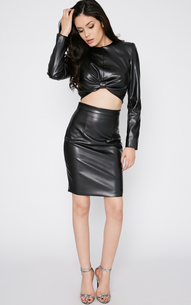 Analise Black Leather Skirt 1