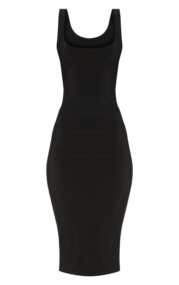 Black Slinky Strappy Midi Dress 3