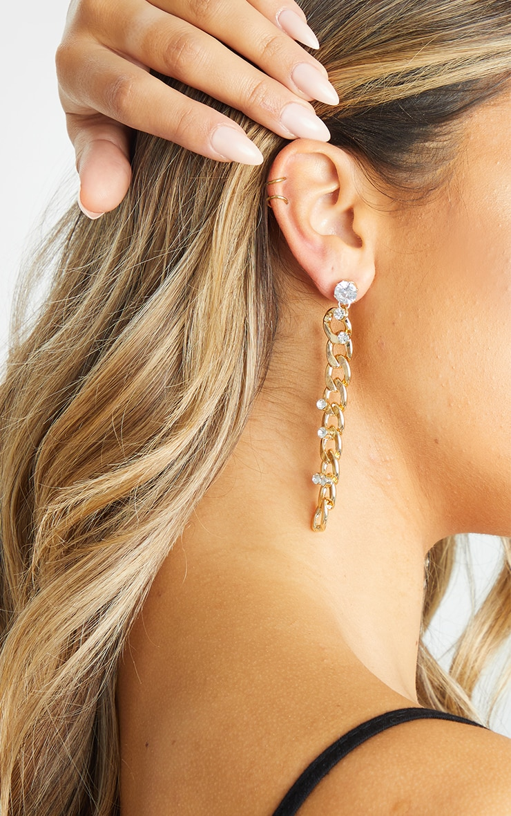 Gold Diamante Embellished Chain Drop Earrings 3