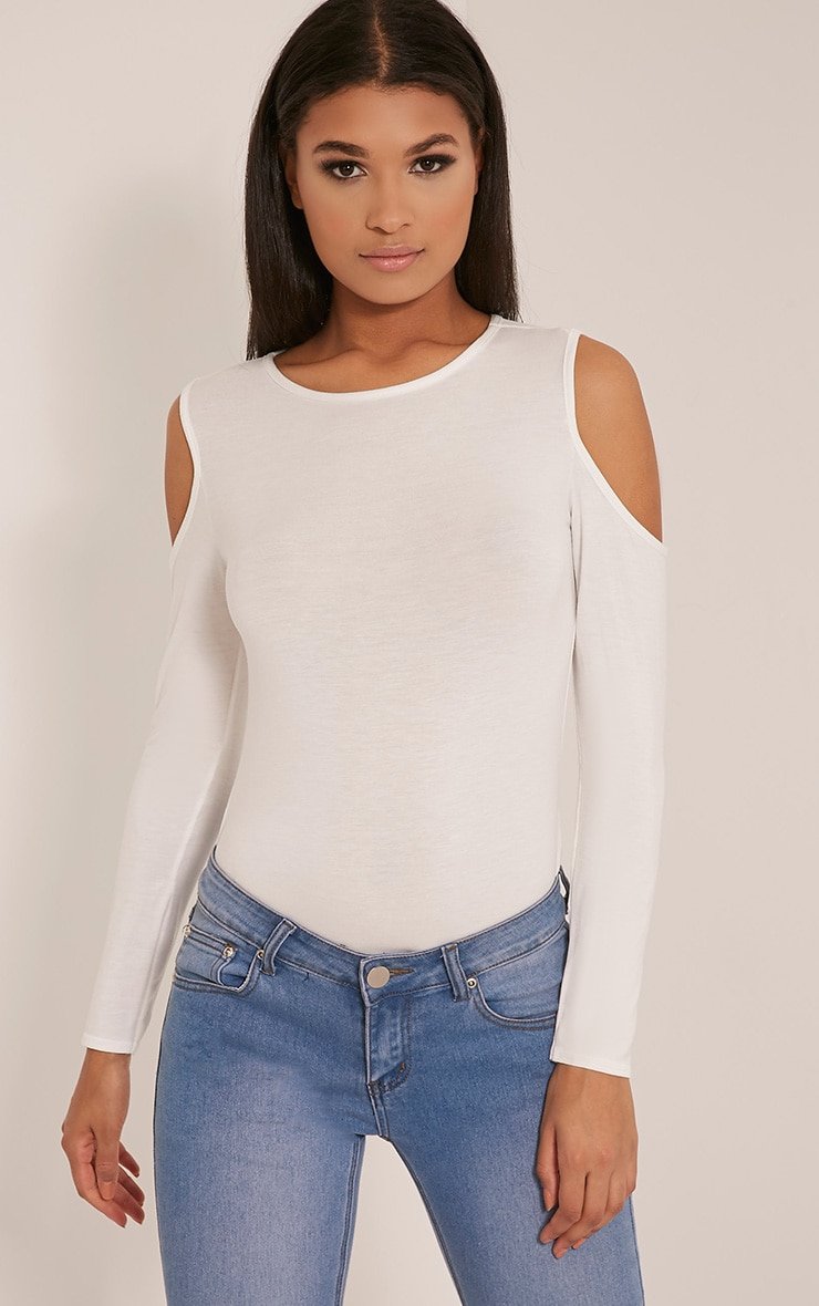 Tracy Cream Cold Shoulder Tunic Top 1