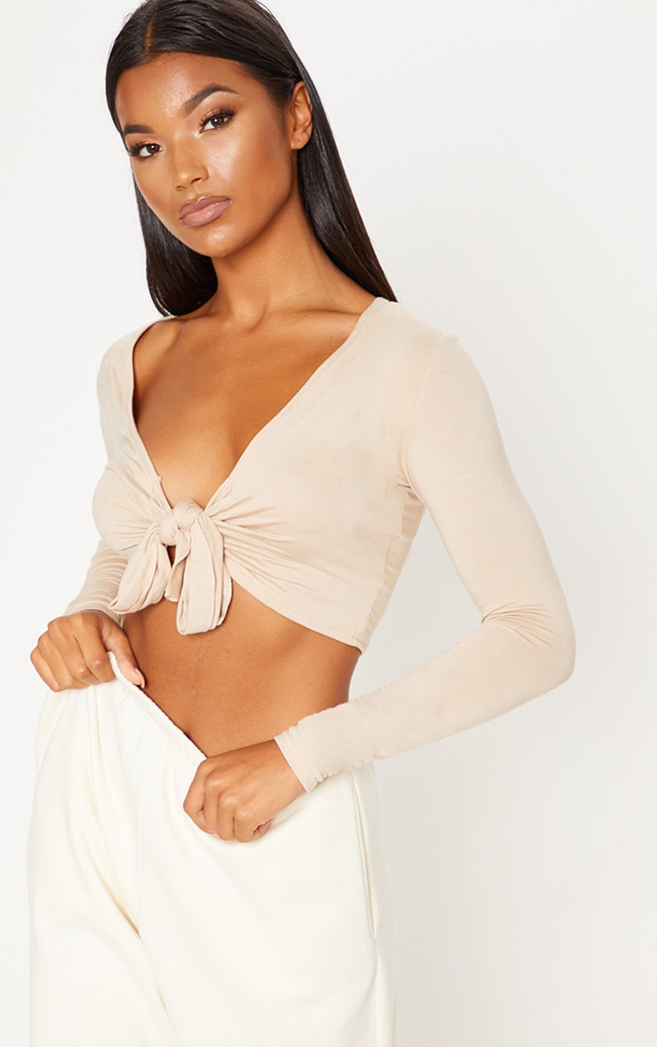 Stone Long Sleeve Tie Front Crop Top 4