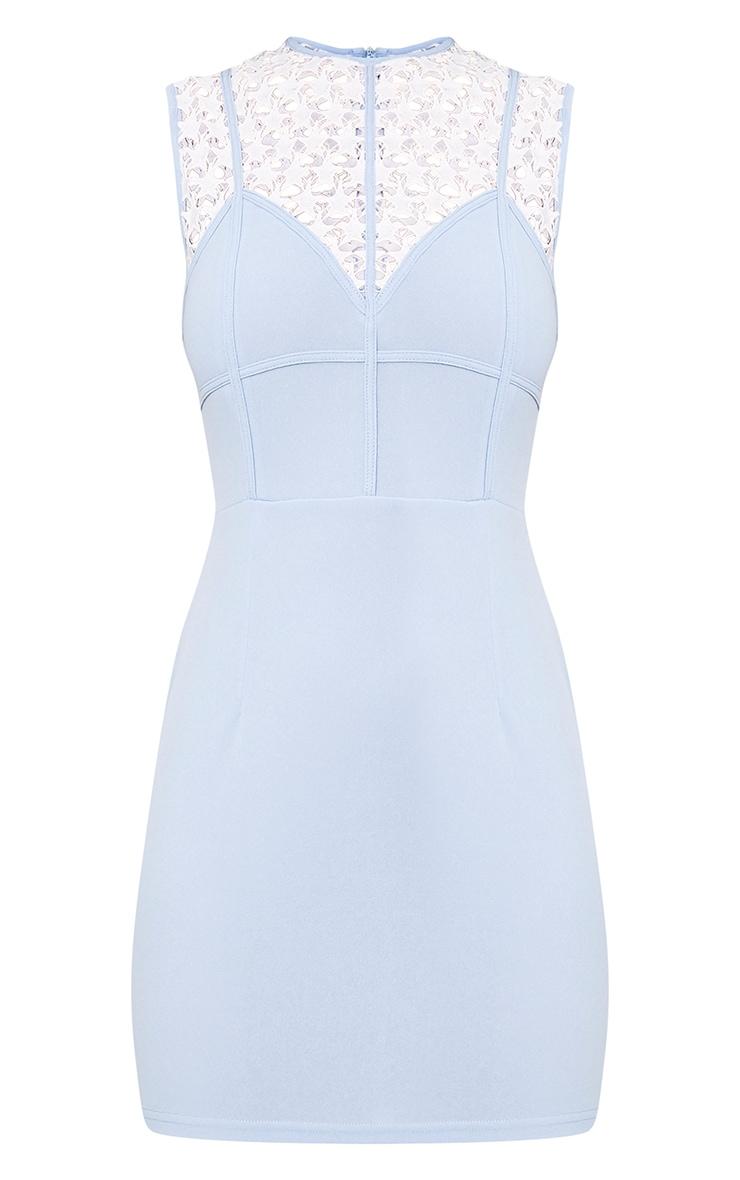 Layalia Blue Star Lace Contrast Bodycon Dress  3