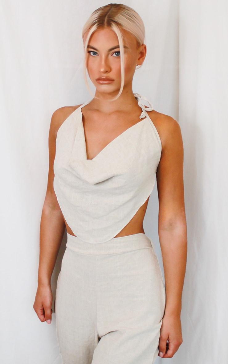 Stone Linen Feel Paperbag Waist Trousers  Prettylittlething Usa-3911