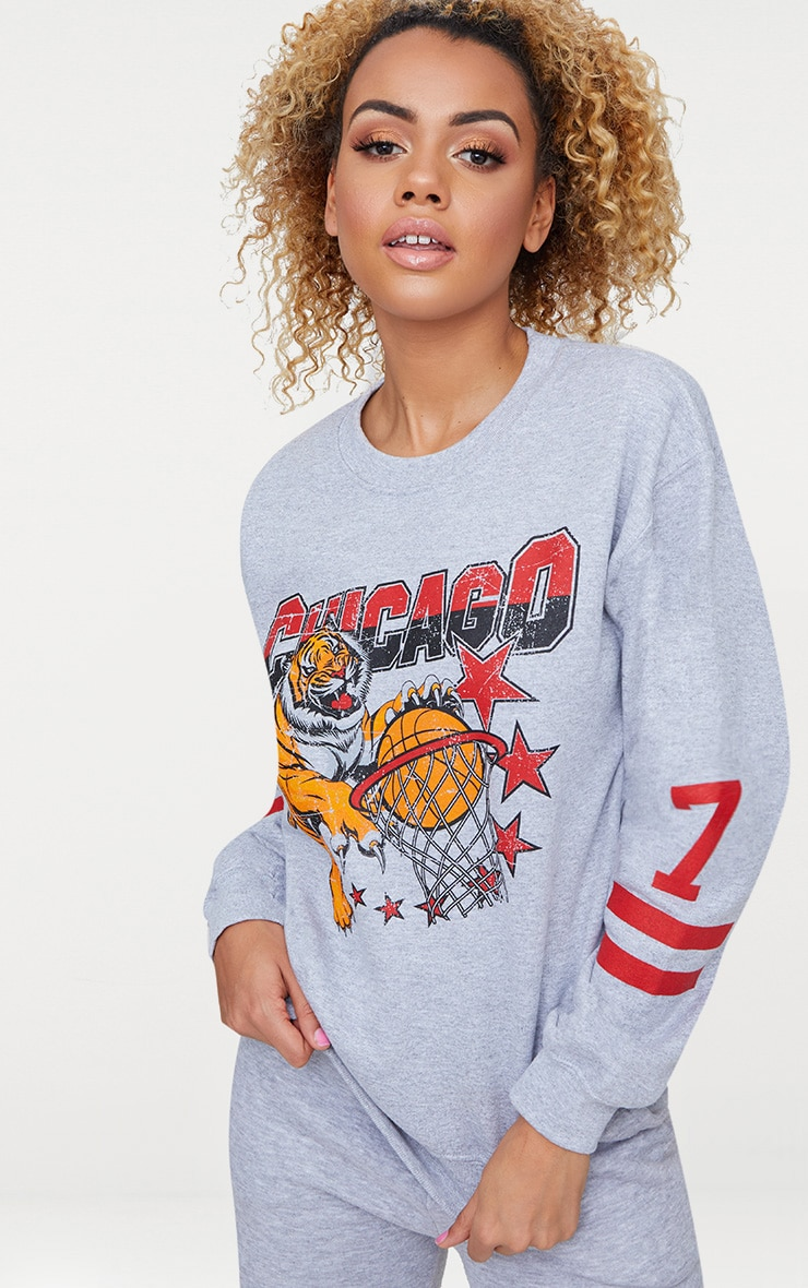 Grey Chicago Slogan Oversized Sweater 1