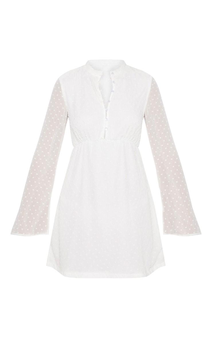 White Textured V Neck Skater Dress 3