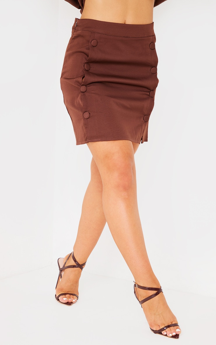 Chocolate Brown Woven Button Front Mini Suit Skirt 2