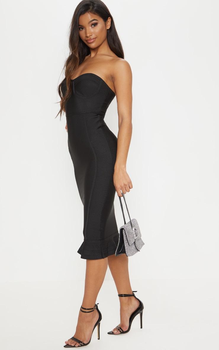 Roxina Black Bandage Frill Hem Midi Dress 4