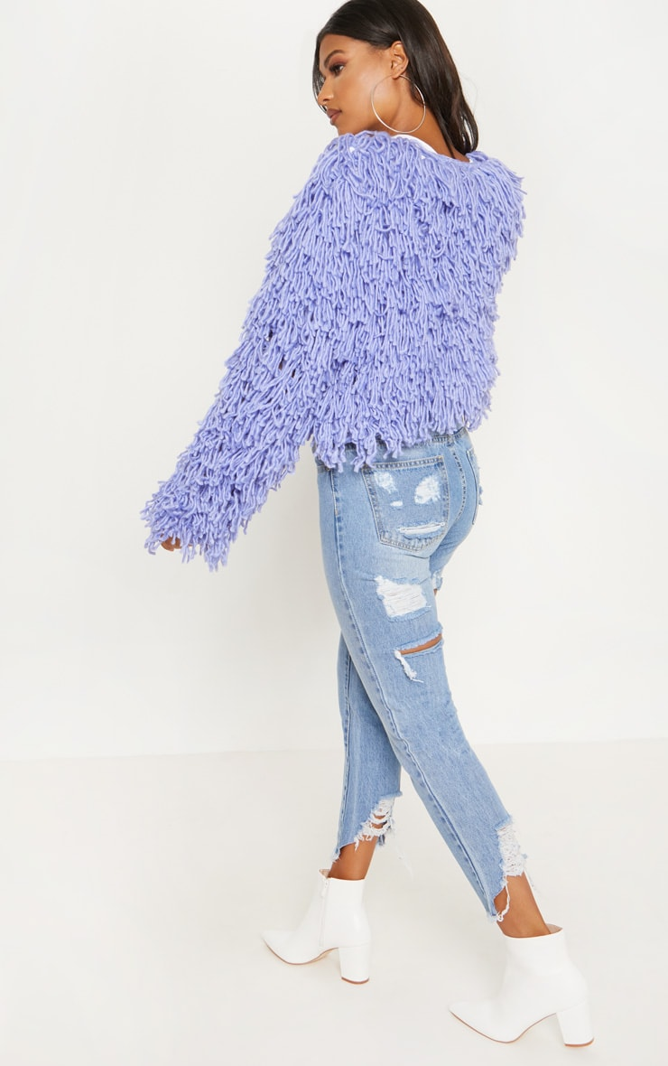 Lilac Shaggy Knit Cropped Cardigan 2