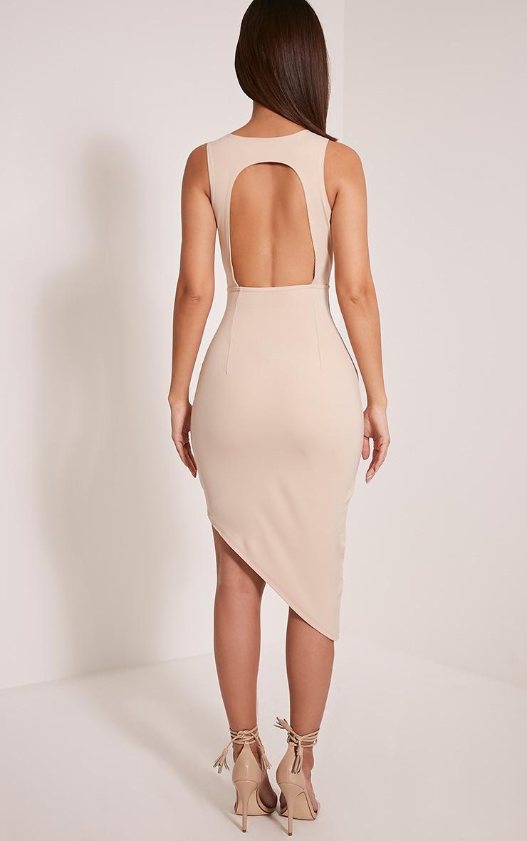 Eron Taupe Cut Out Plunge Asymmetric Mini Dress 2