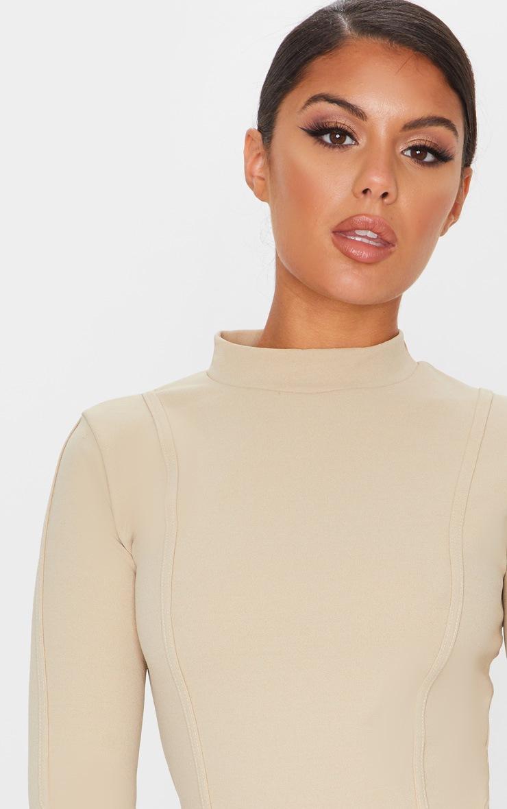 Stone High Neck Long Sleeve Binding Detail Bodycon Dress 5