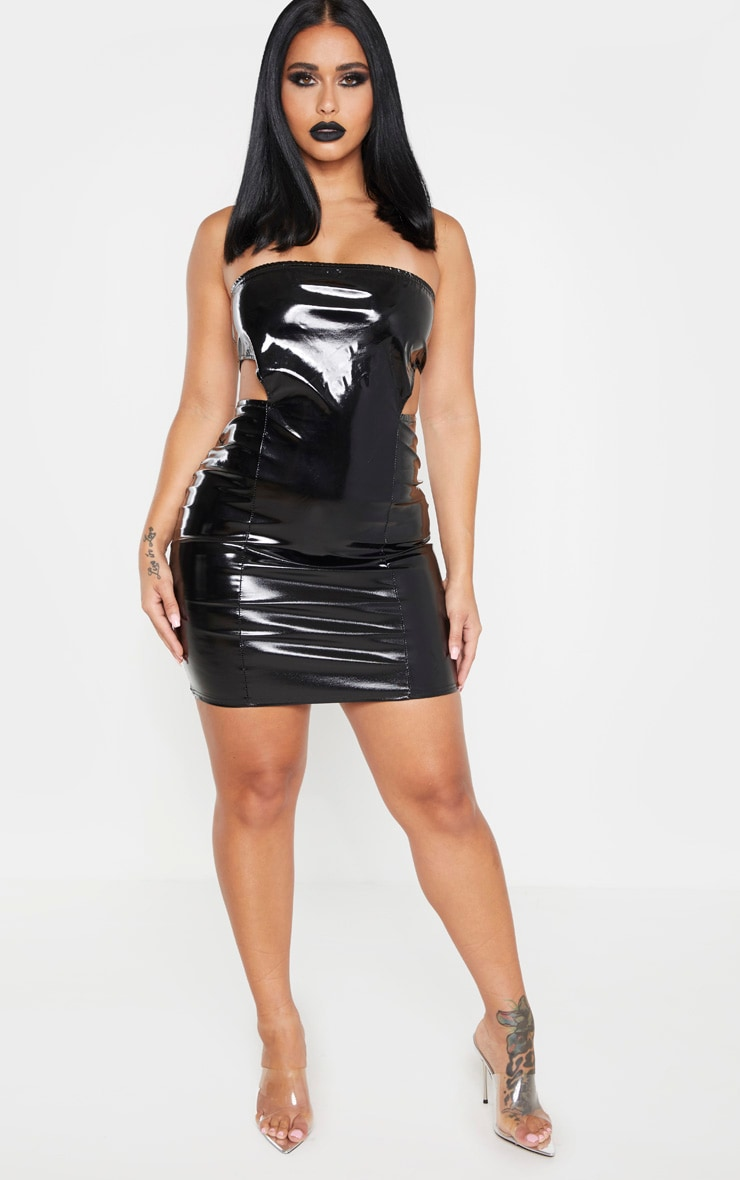 Shape Black Vinyl Cut Out Side Bodycon Dress 3