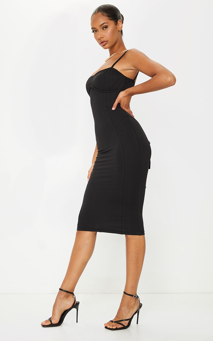 Black Cotton Underbust Binding Lace Back Midi Dress 3