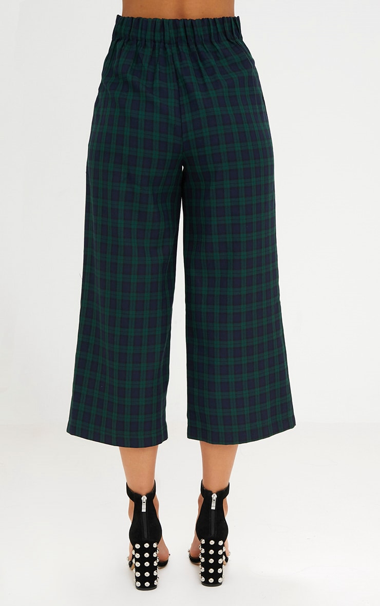 Navy Check High Waisted Culottes 3