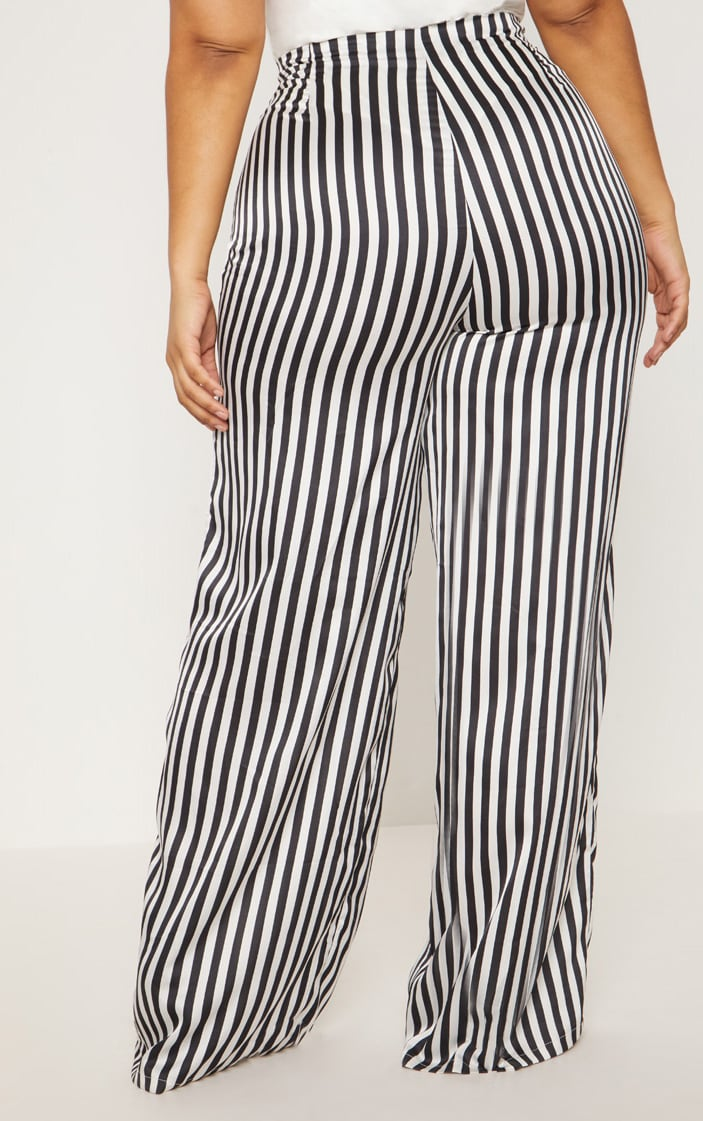 Plus Black Striped Satin Wide Leg Pants 3