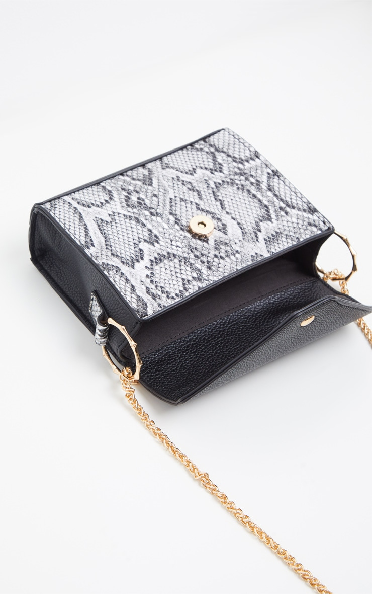 Grey Snake Print Bamboo Trim Chain Cross Body 4