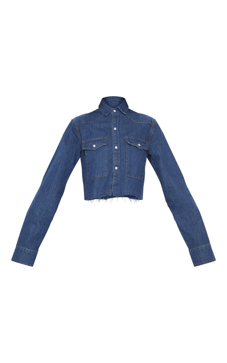 Dark Blue Cropped Denim Shirt  3