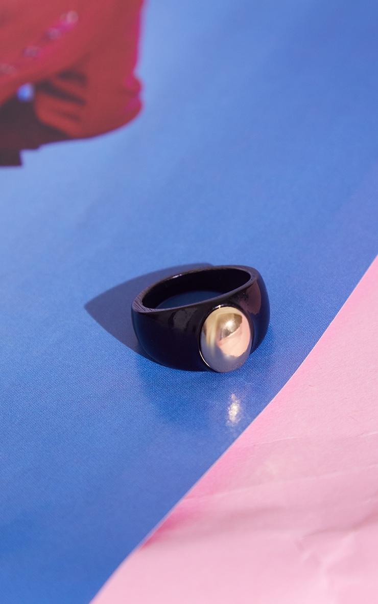 Black Resin Gold Ball Ring 1