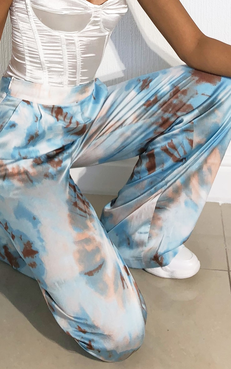 Blue Tie Dye Wide Leg Trousers 4