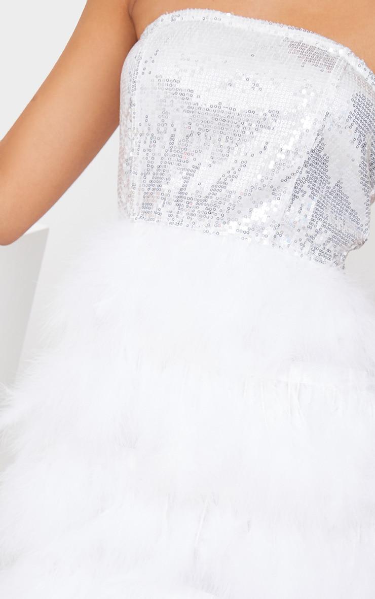 Silver Bandeau Sequin Feather Trim Bodycon Dress 6