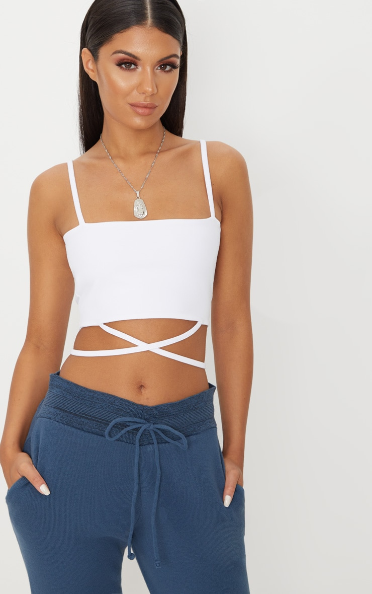White Strap Crop Top 1