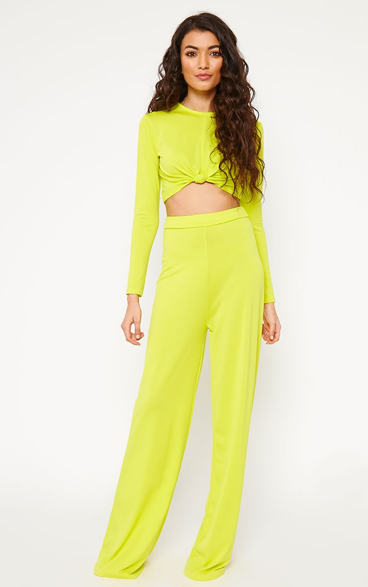Zafia Lime Slinky Knot Front Crop Top 3