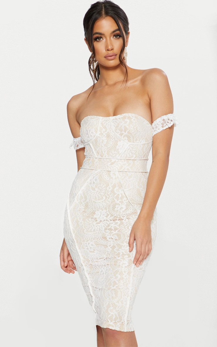 White Lace Binding Detail Bardot Midi Dress