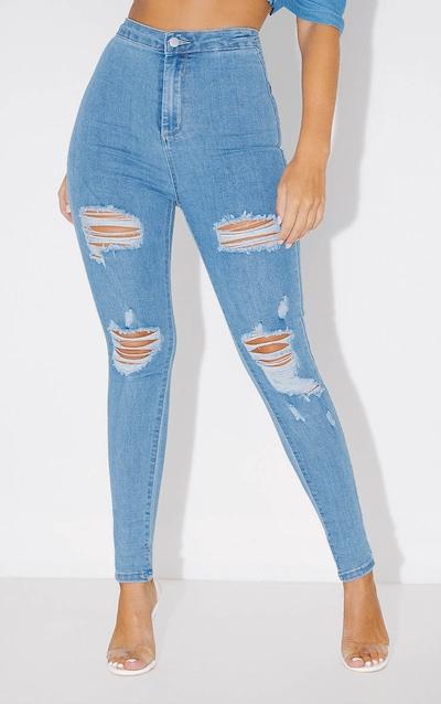 PRETTYLITTLETHING Light Wash Distressed Disco Skinny Jean