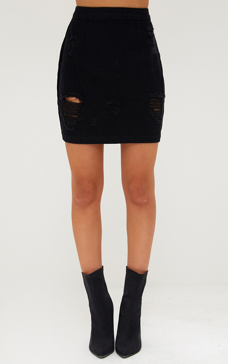 Black Open Thigh Rip Denim  Mini Skirt 2