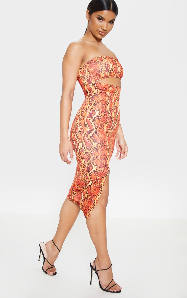 Orange Scuba Snake Print Cut Out Bandeau Midi Dress 4
