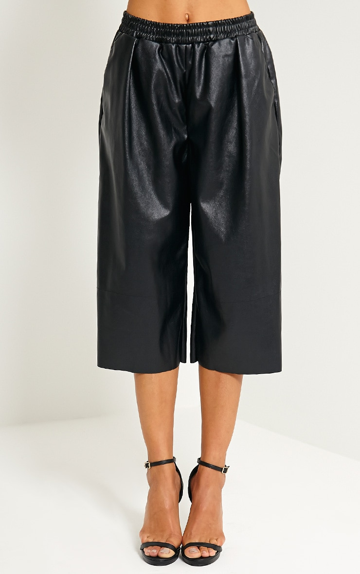 Brit Black Leather Culottes 2