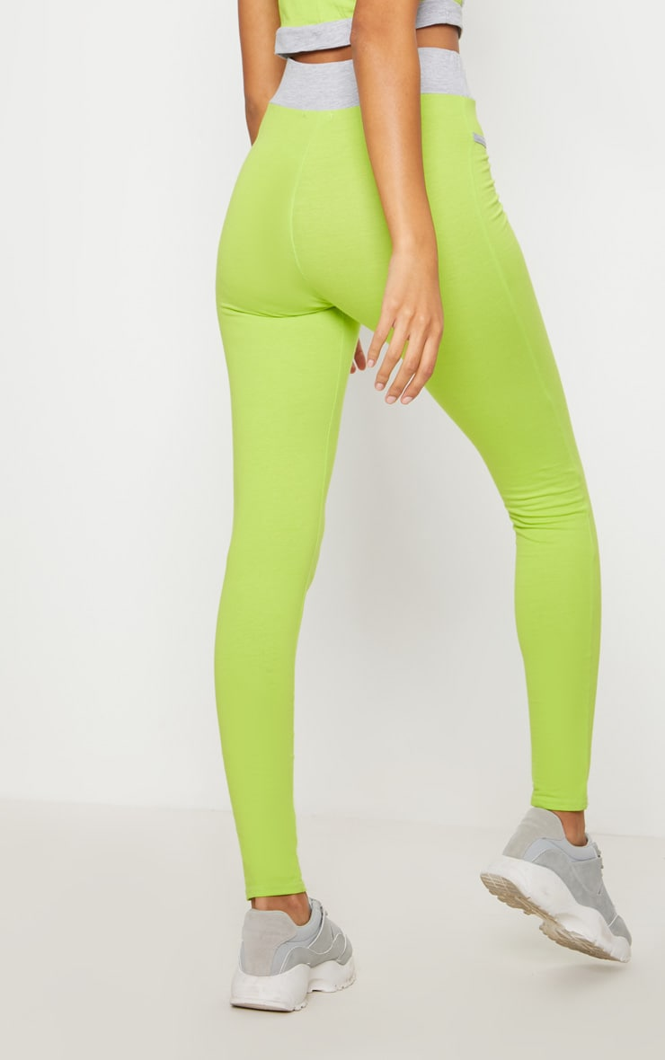 Lime Contrast Binding Sport Leggings 4