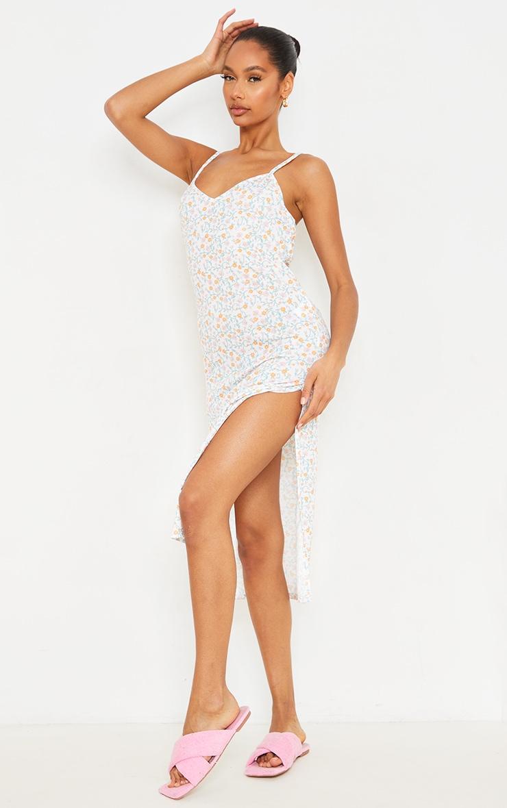 Cream Ditsy Print Jersey Split Cami Midi Dress 1