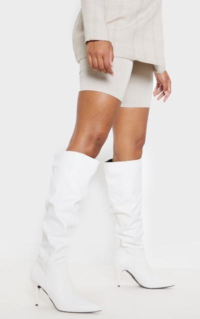 White Mid Heel Knee Boot