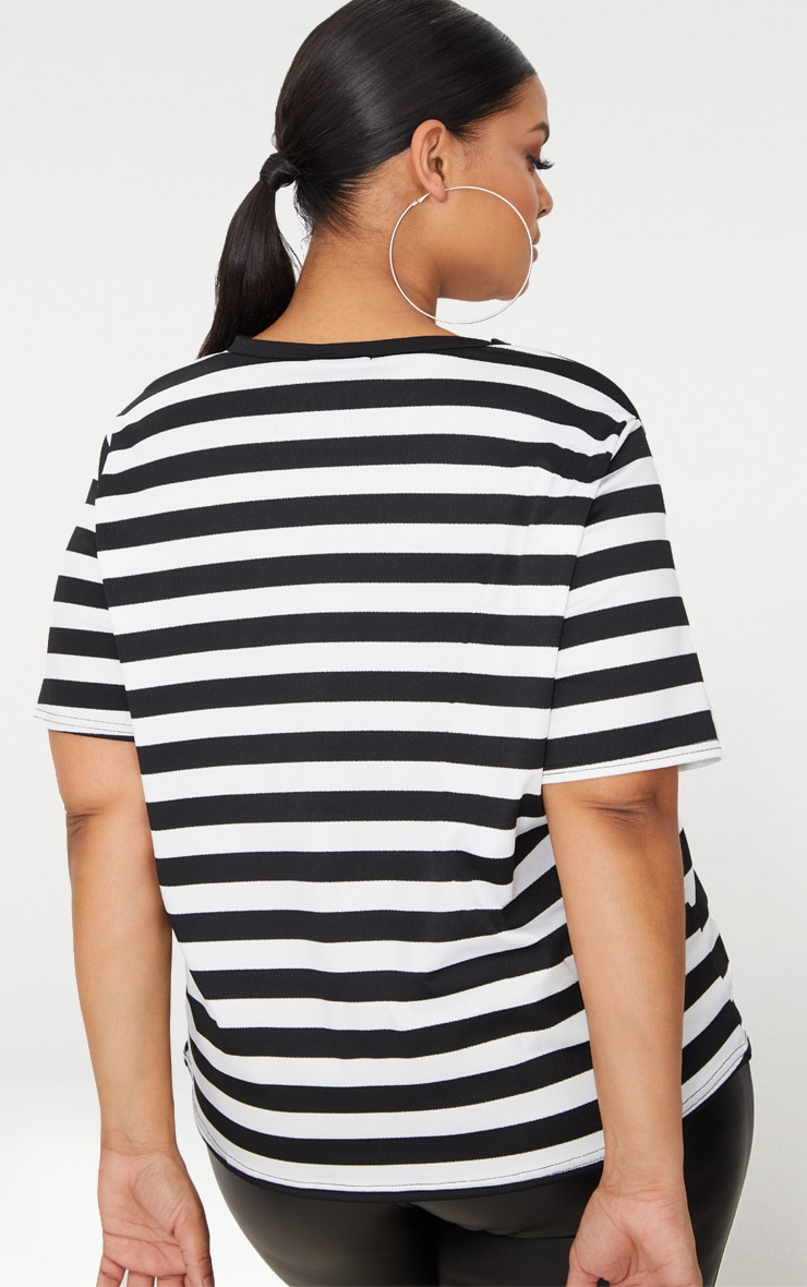 Plus Black Striped T Shirt 2