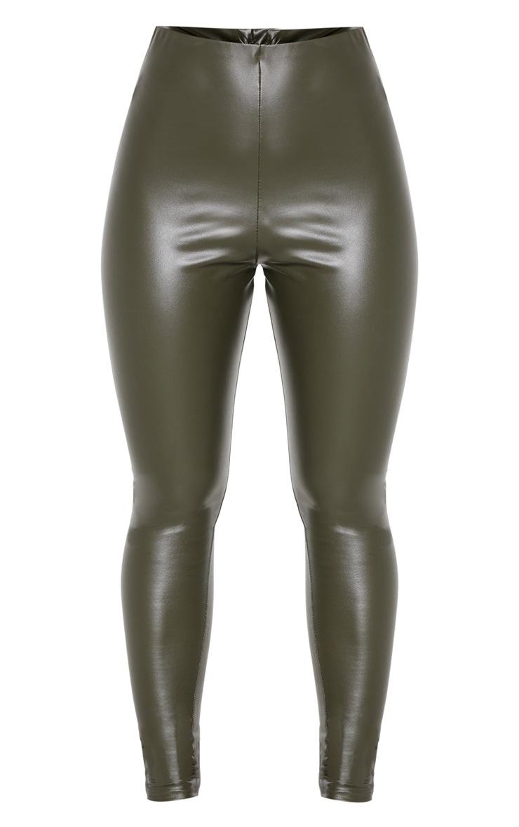 Legging en similicuir kaki froncé derrière 3