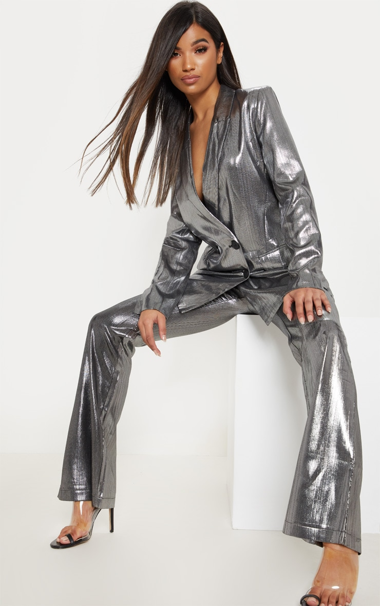 Silver Metallic Button Front Blazer  3