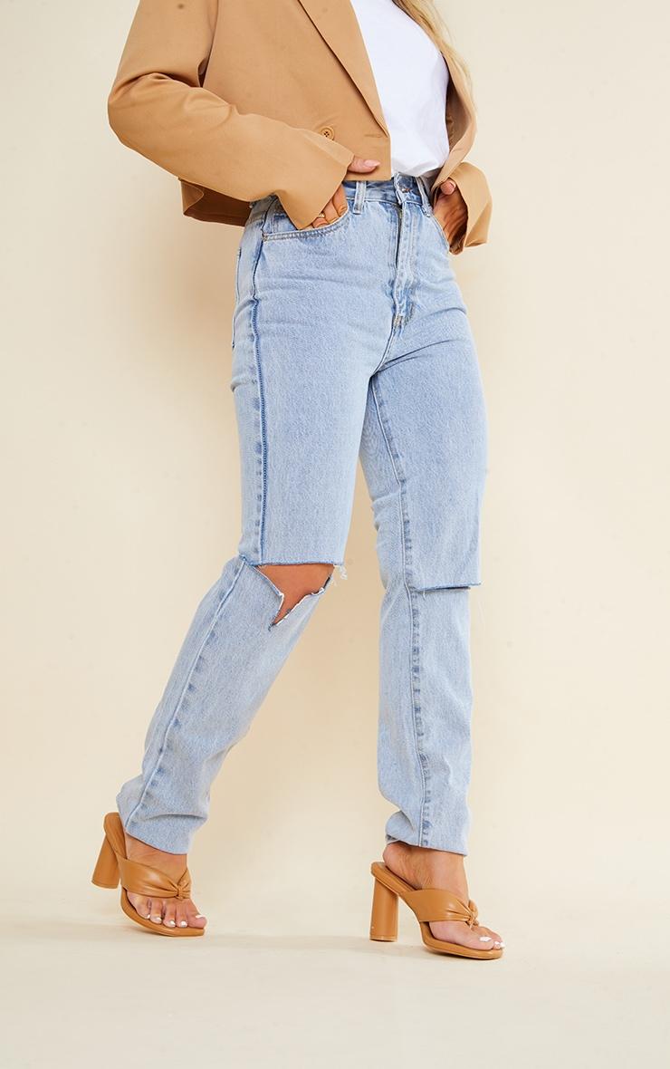 Light Blue Wash Slash Knee Long Leg Straight Leg Jean 2
